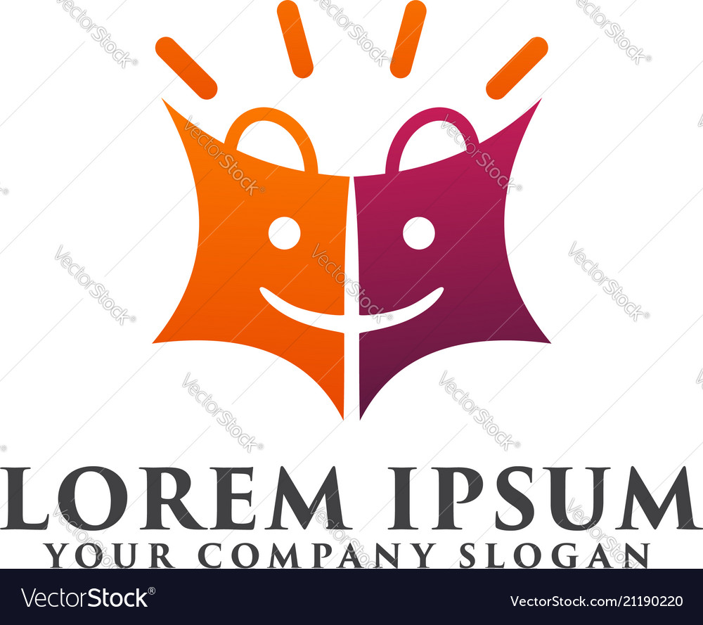 Shopping bag logo design concept template