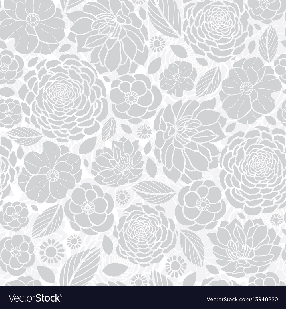 Silver grey white mosaic flowers seamless vector image mightylinksfo