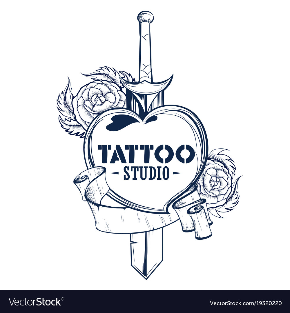 Tattoo art design of floal flower with sword