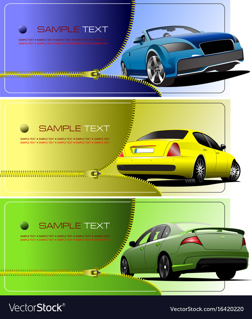 Three Banners With Zipper Open Car Royalty Free Vector Image