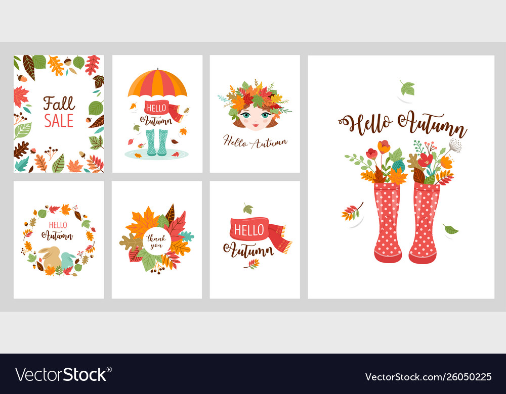 Autumn greeting cards banners design set