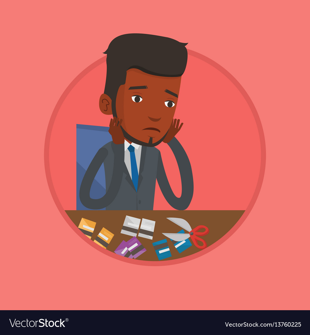 Businessman bankrupt cutting his credit card vector image