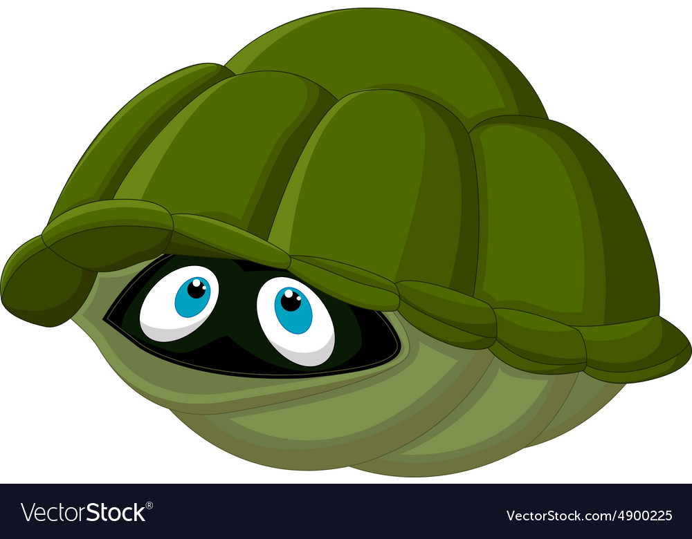 Cartoon Turtle Hides In Its Shell Royalty Free Vector Image