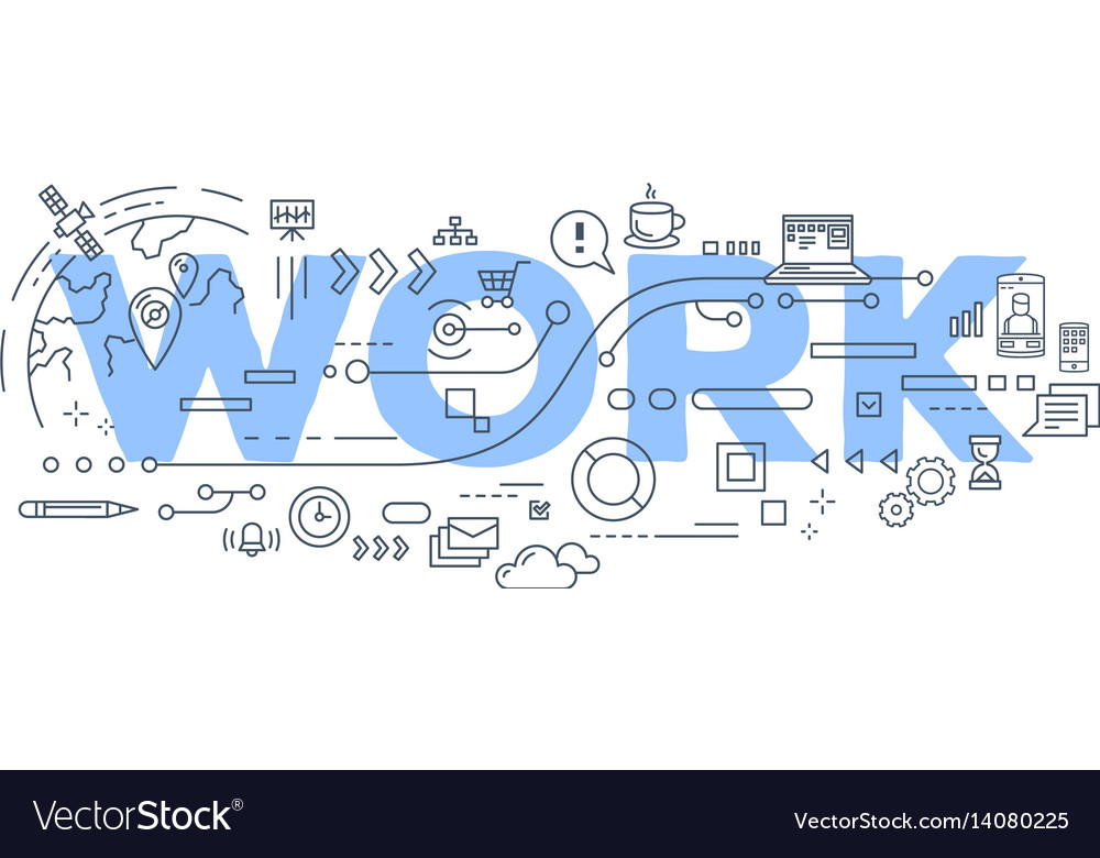creative of work word lettering royalty free vector image
