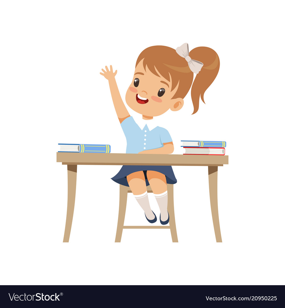 Cute girl sitting at the desk and rising her hand