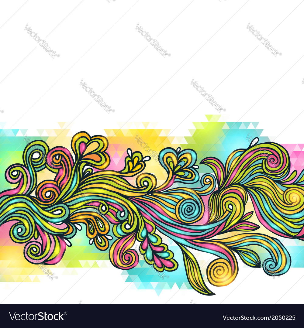 Doodle on Geometric triangle abstract background vector image