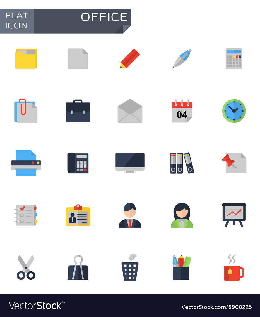 Flat office icons set