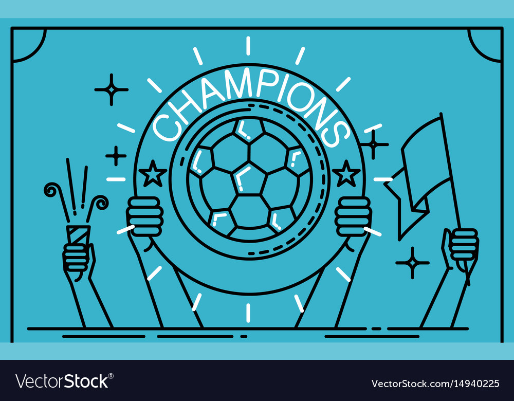 Football soccer player holding up a trophy as a