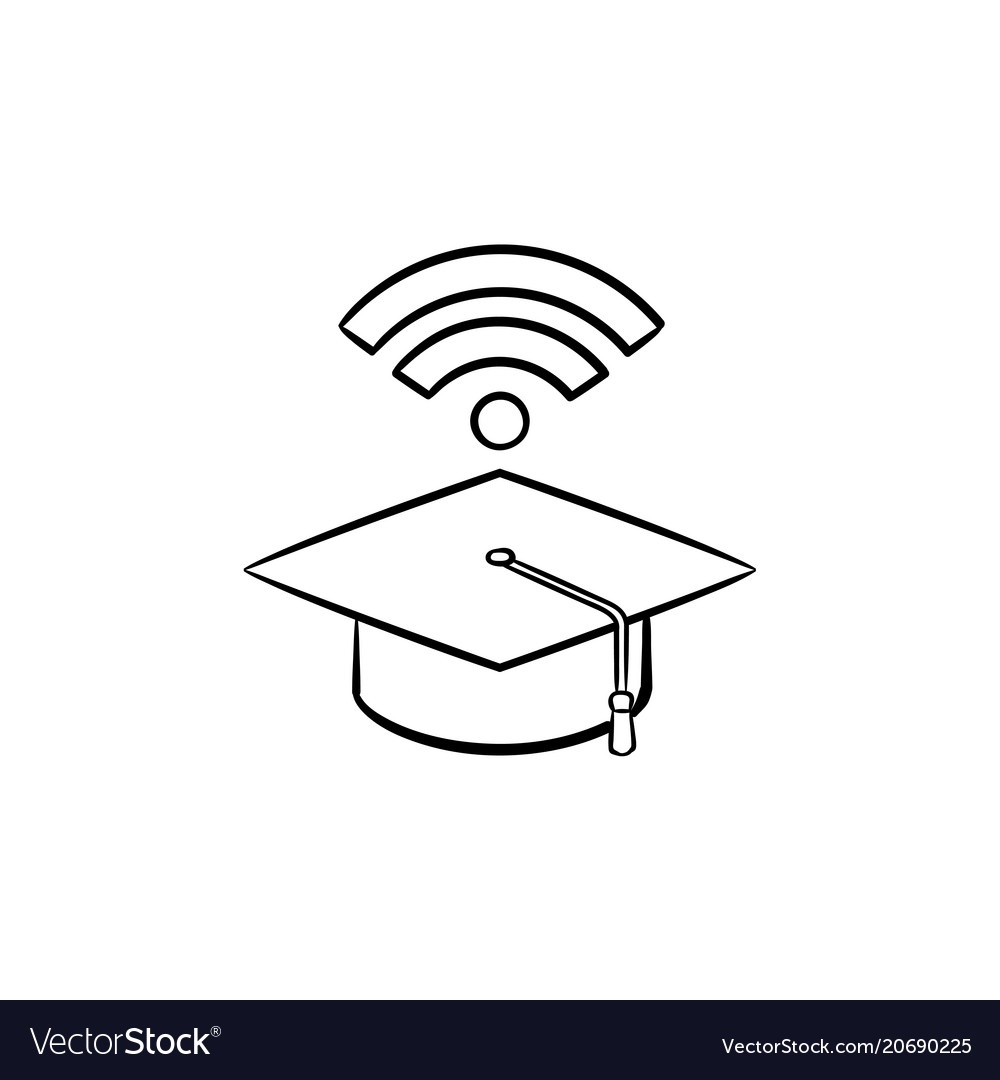 Graduation cap with network wifi sign sketch icon