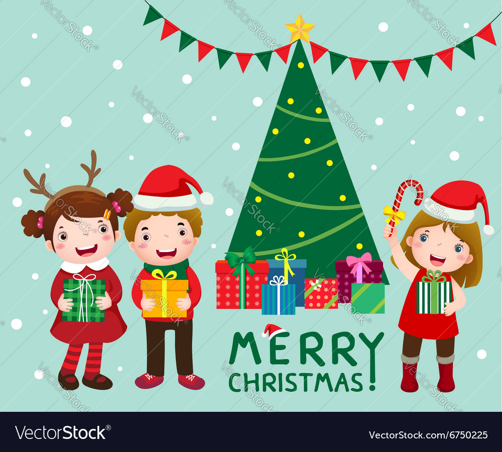 Happy cute kids with gift boxs near christmas tree