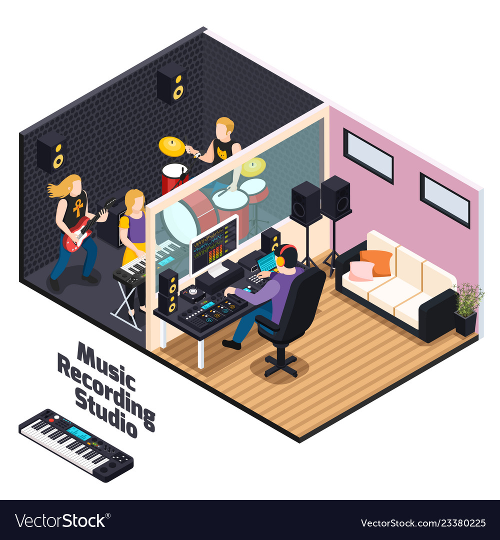 Music recording studio isometric composition