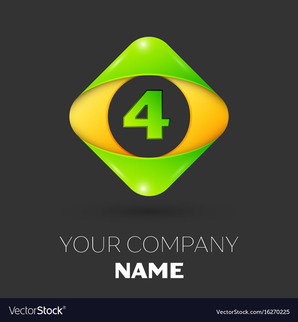 Number four logo symbol in colorful rhombus
