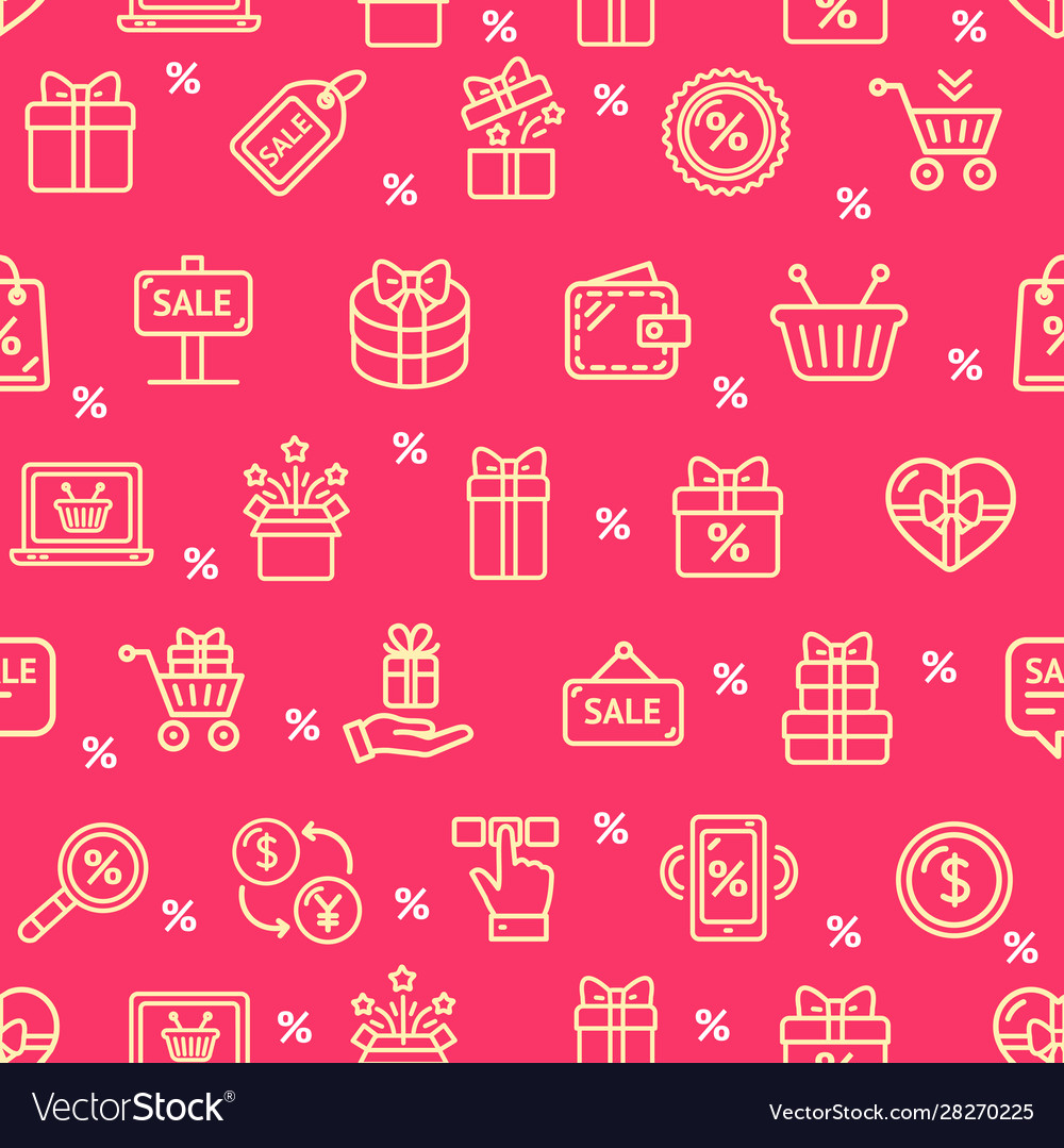 Sale signs seamless pattern background on a red