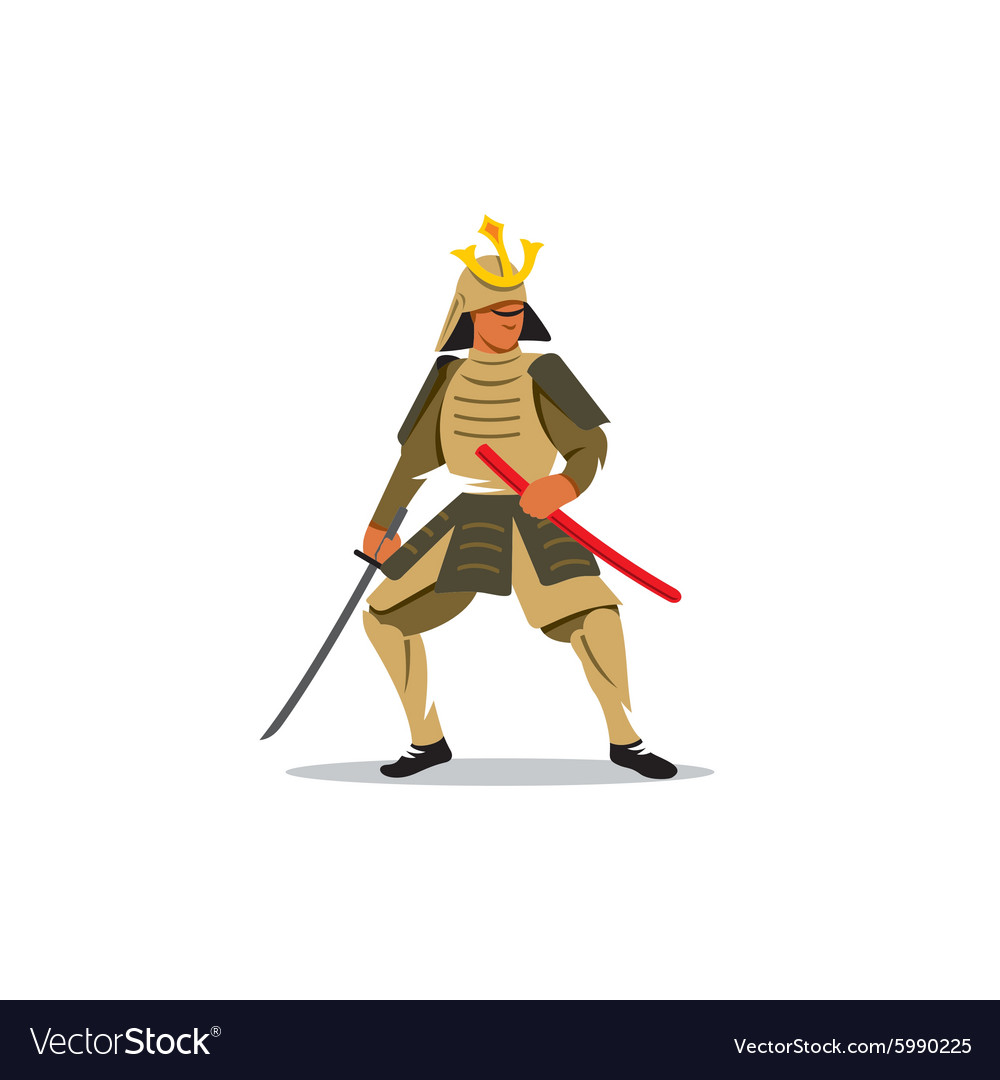 Samurai Warrior With Katana Sword sign