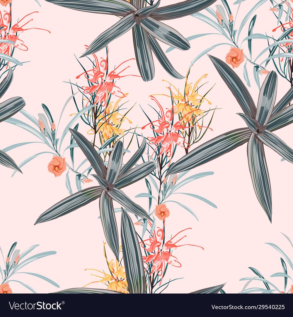Seamless pattern orange protea flowers