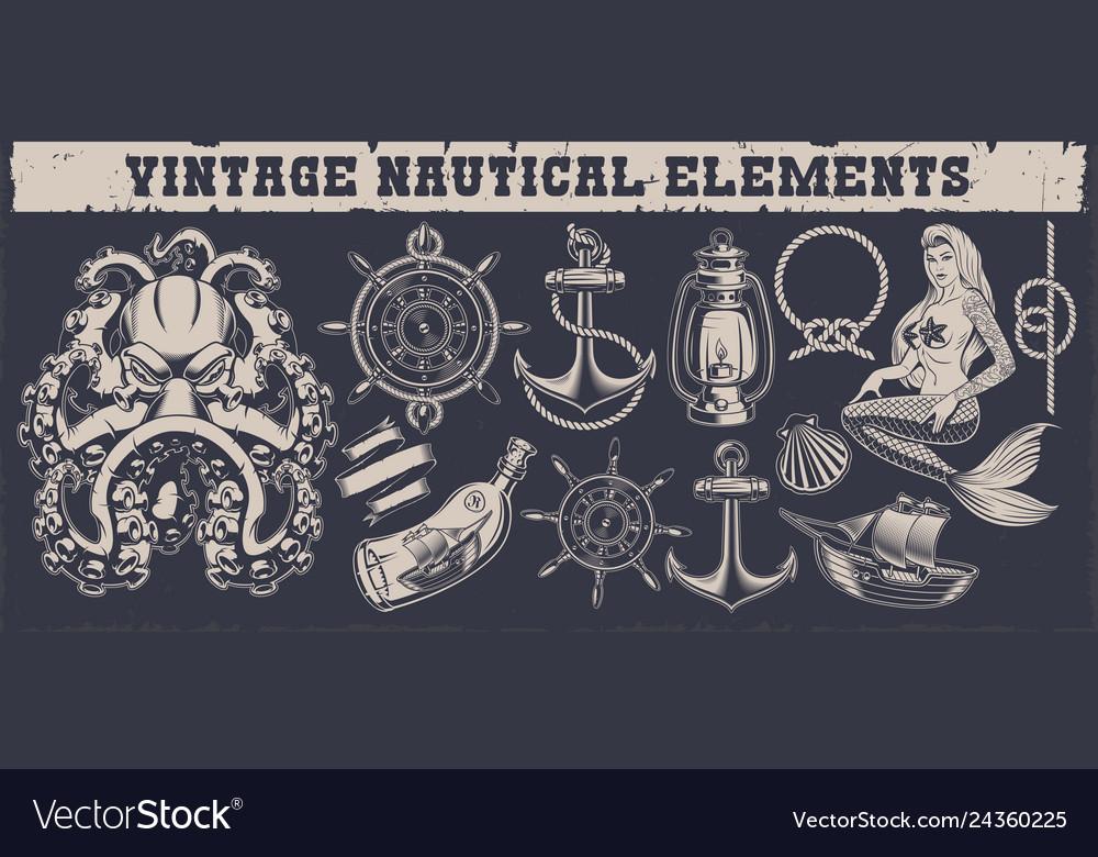 Set a vintage nautical elements