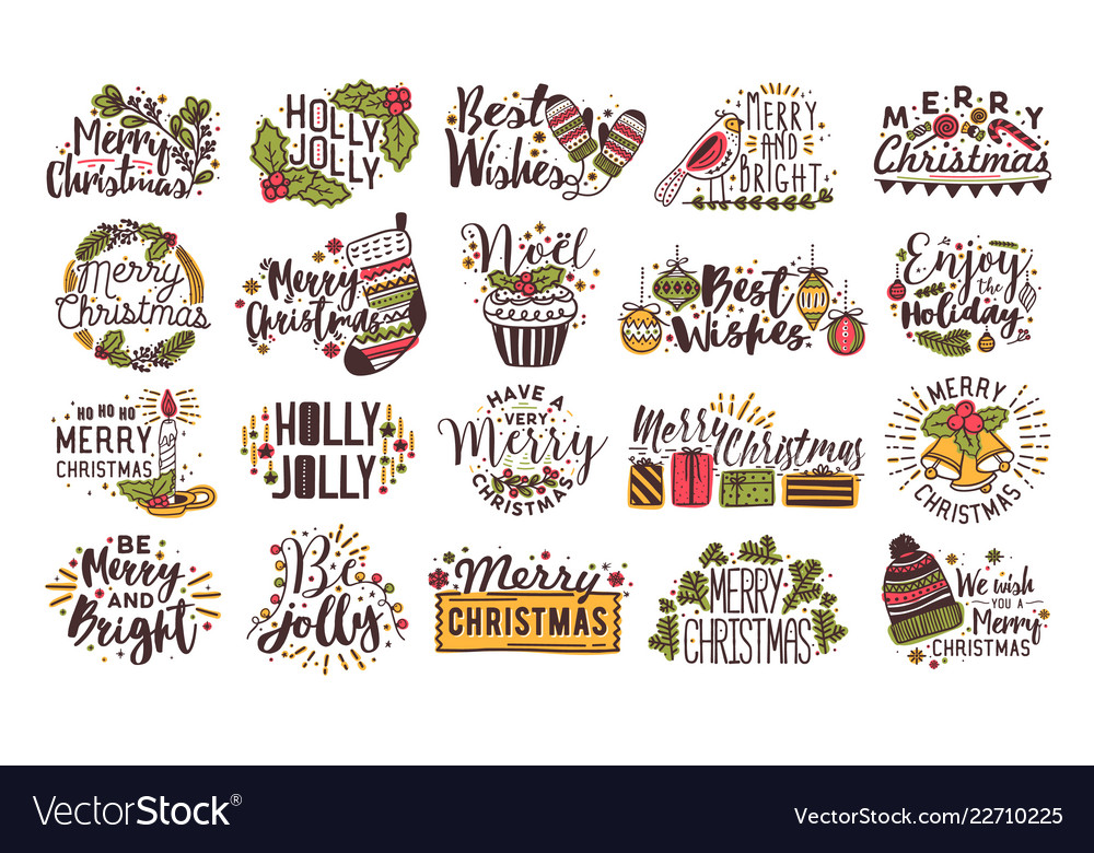 Set christmas handwritten lettering decorated