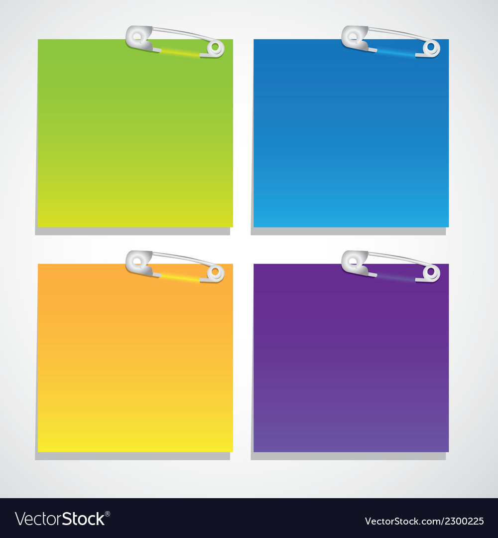Set of colored sheets of paper held together with Vector Image