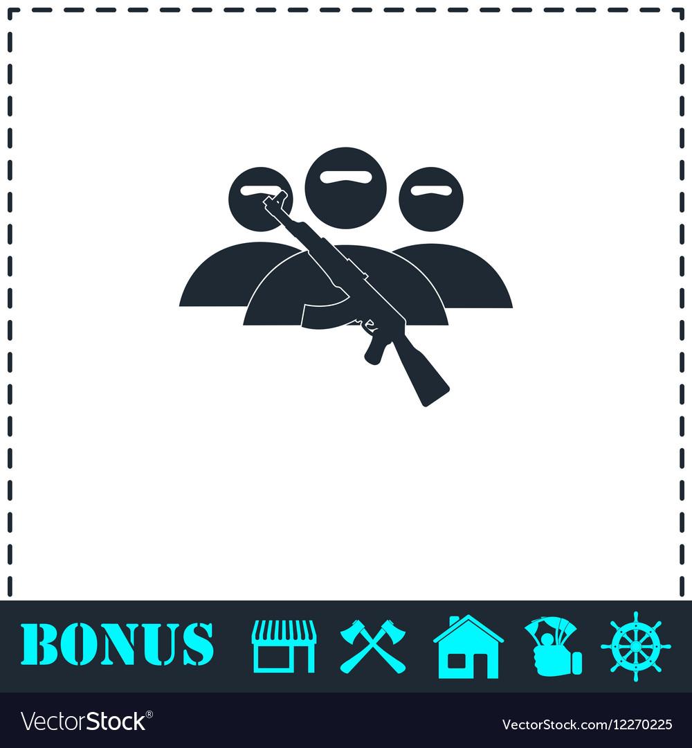 Terrorist balaclava mask icon flat
