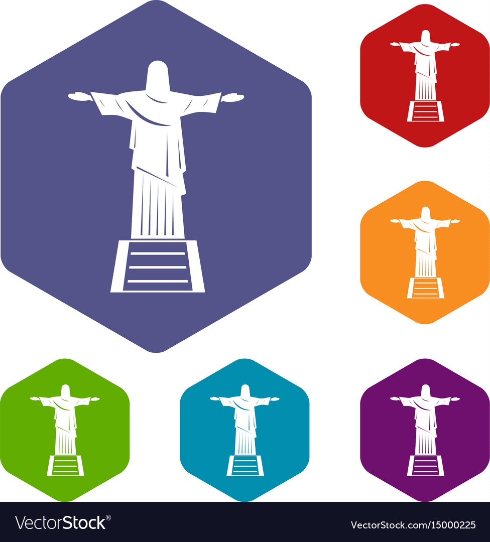 The christ the redeemer statue icons set hexagon vector image