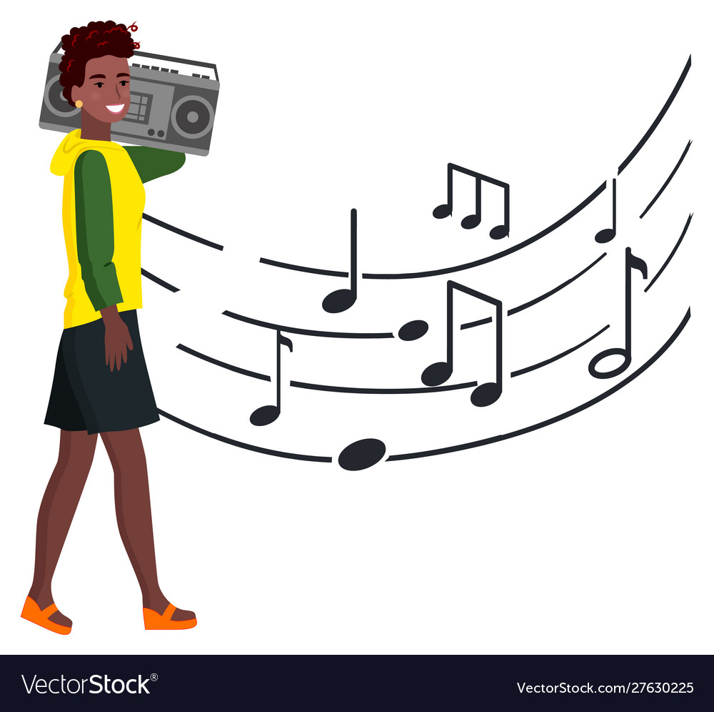 Woman with tape recorder walks along music notes vector