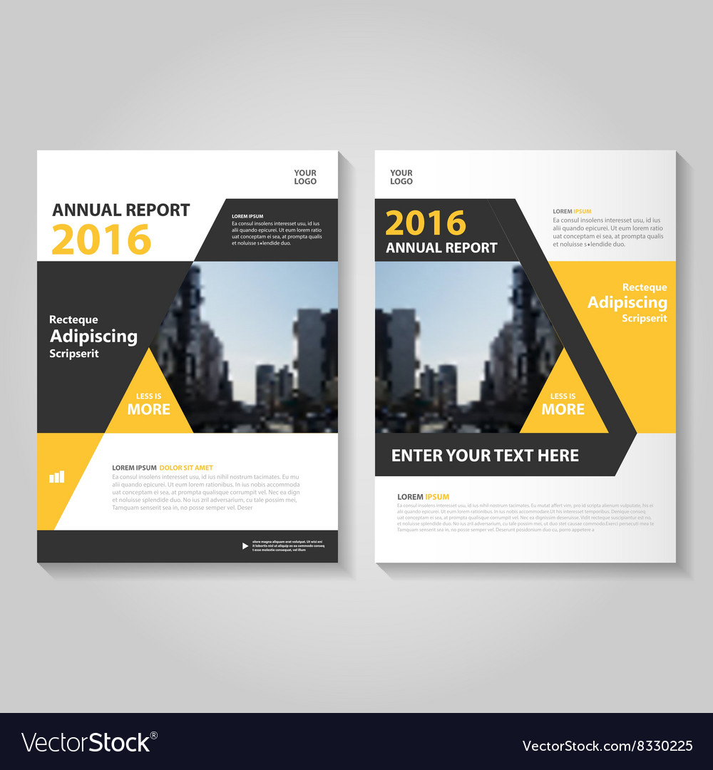 yellow black annual report leaflet brochure flyer vector image