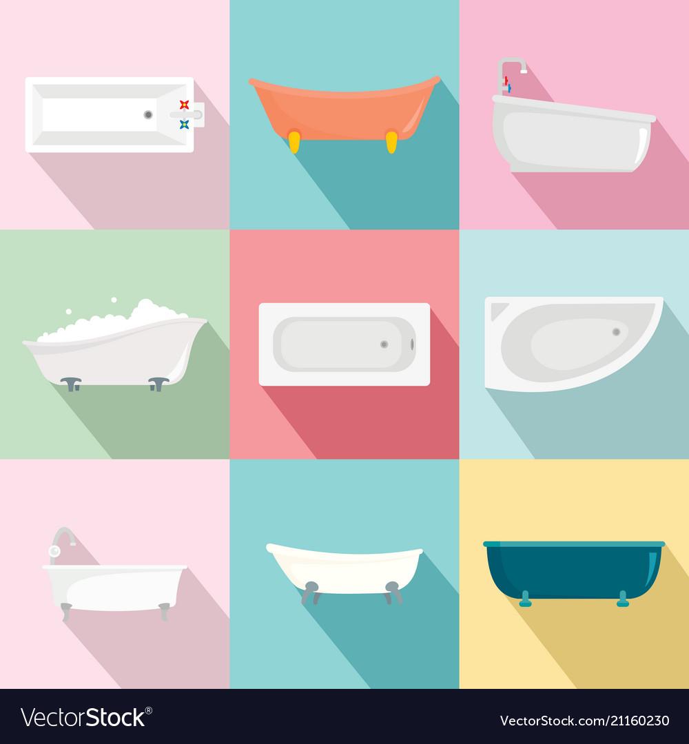 Bathtub interior icons set flat style vector image