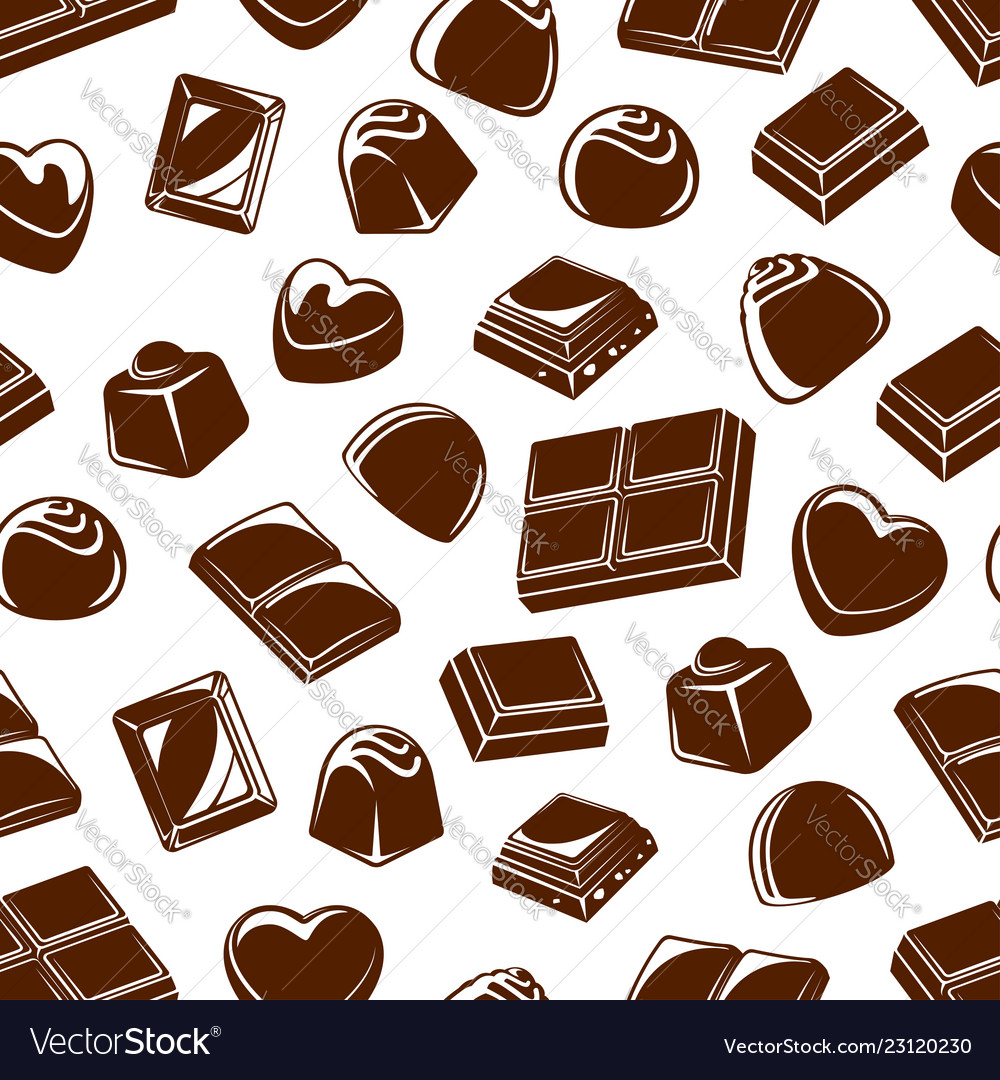 Chocolate candies and bars seamless pattern