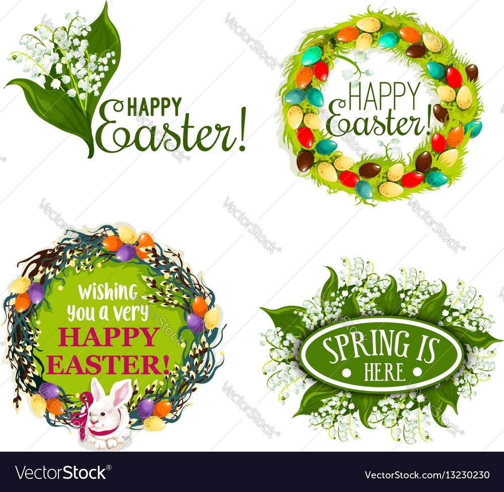 Easter spring holiday cartoon badge set design