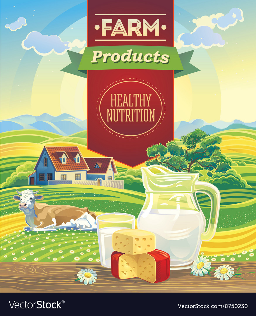 Farming landscape with dairy products