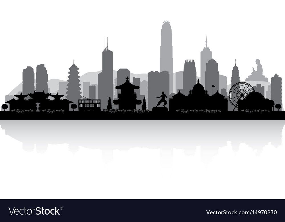 Hong kong china city skyline silhouette vector image