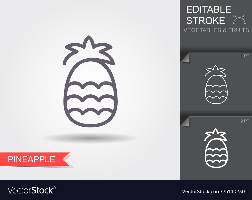 Pineapple line icon with editable stroke