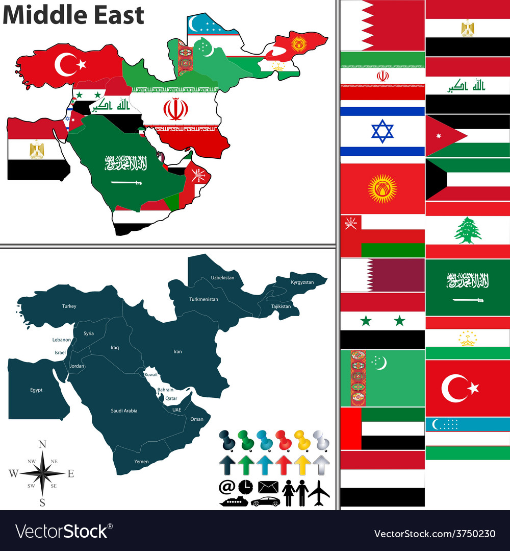 Political Map Of Middle East With Flags Royalty Free Vector