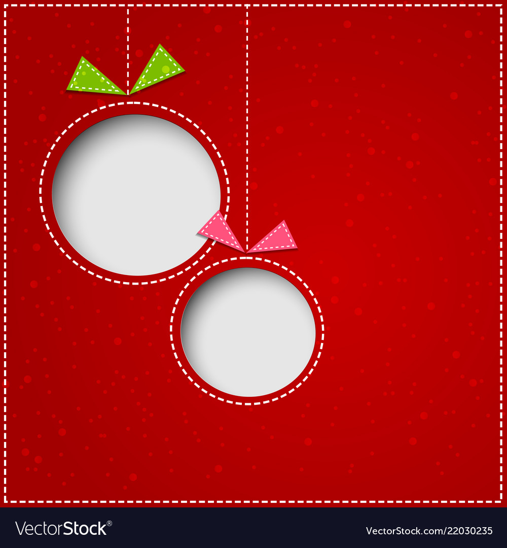 Abstract christmas balls cutted from paper on red
