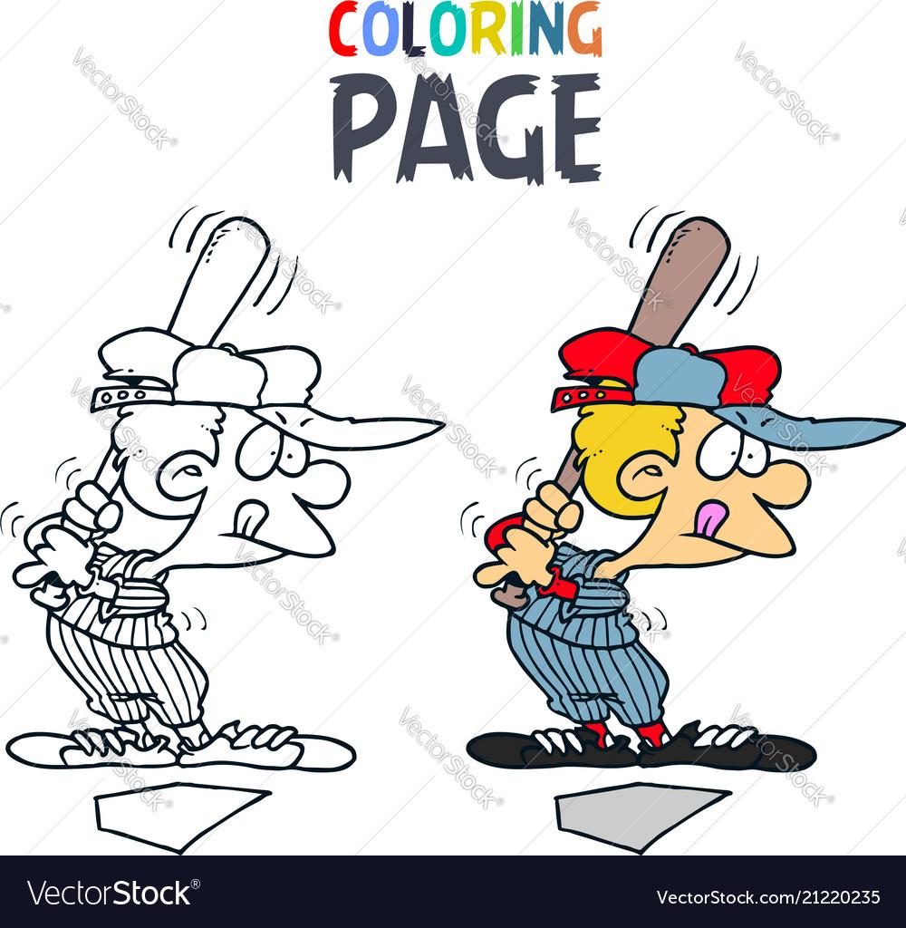 Baseball people cartoon coloring page