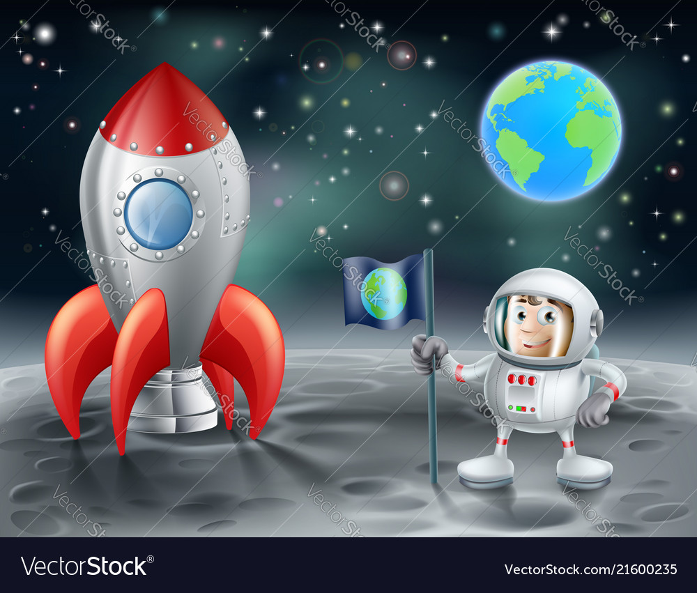 Cartoon astronaut and space rocket on the moon