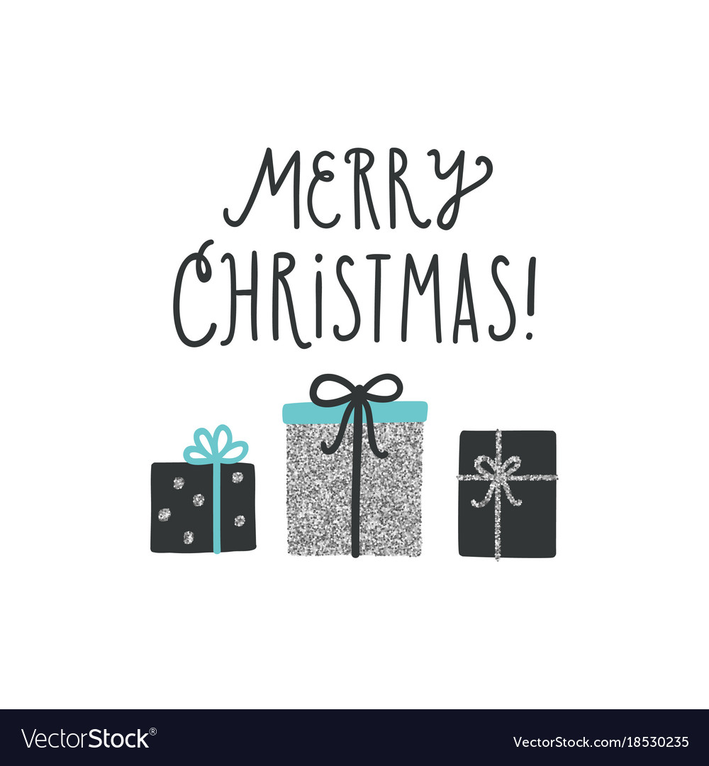 Christmas greeting card with cute gifts