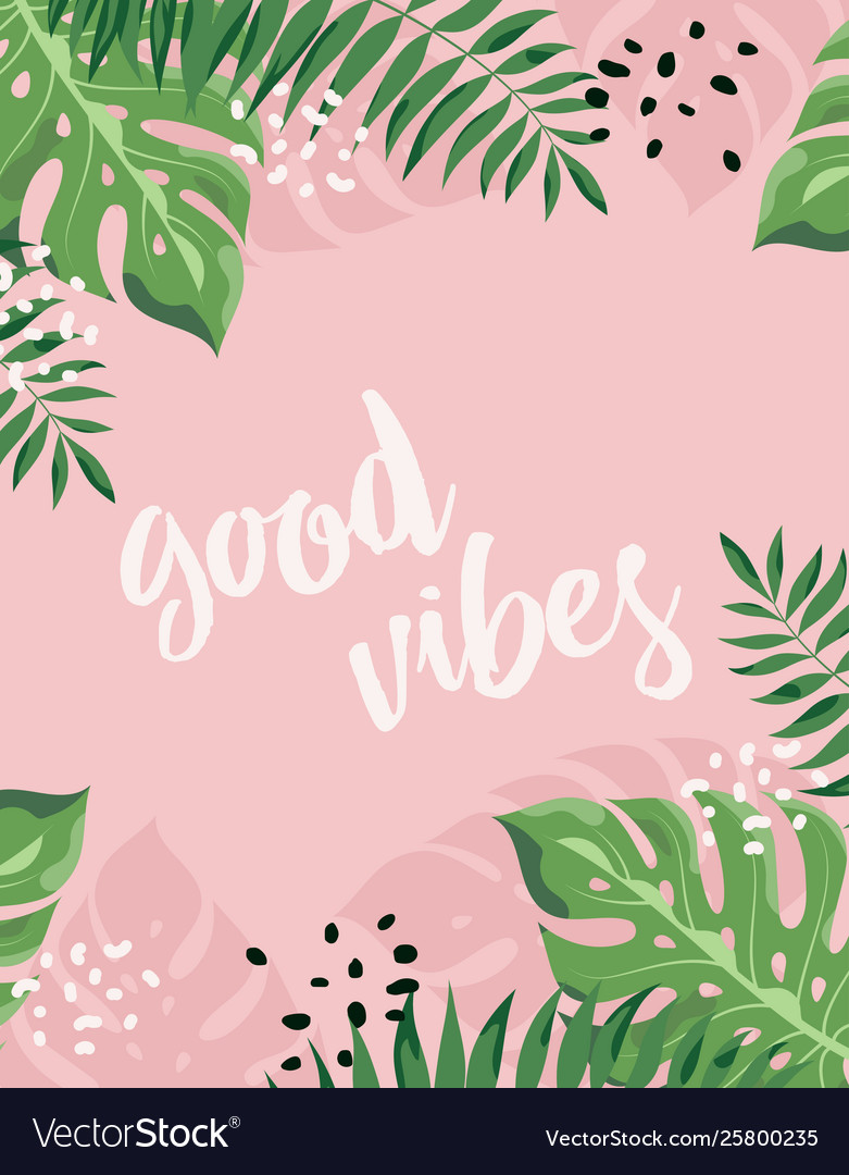 Floral Frame Good Vibes Royalty Free Vector Image