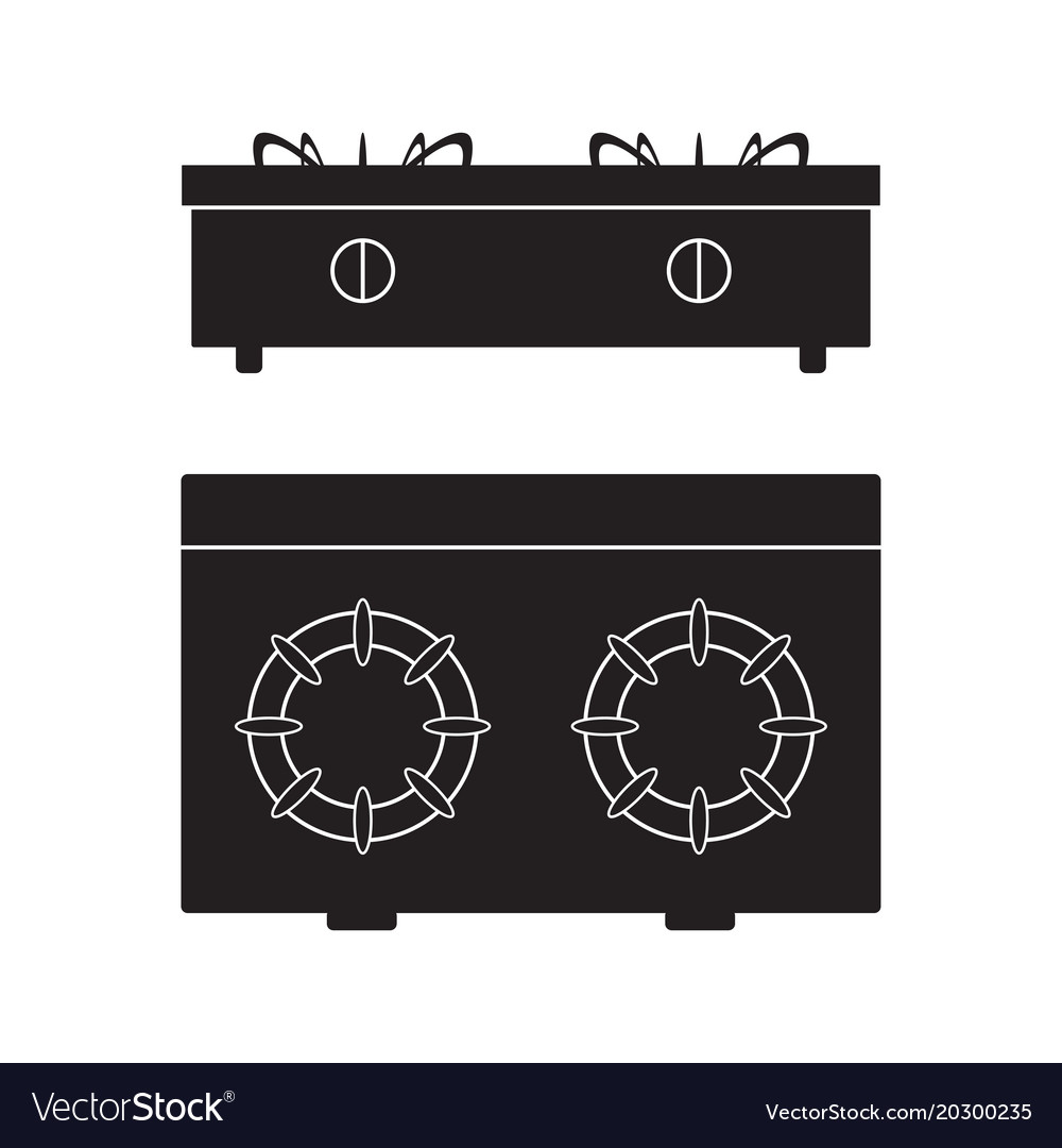 Gas stove cooker icon flat sign