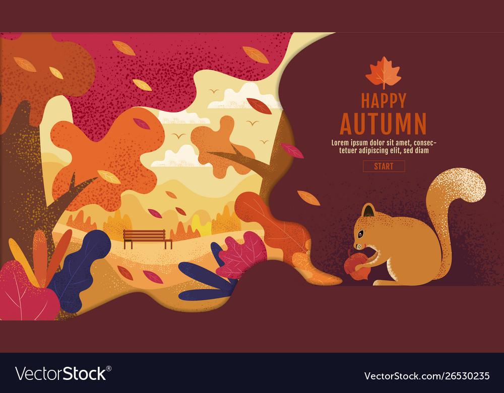 Happy thanksgiving autumn banner design