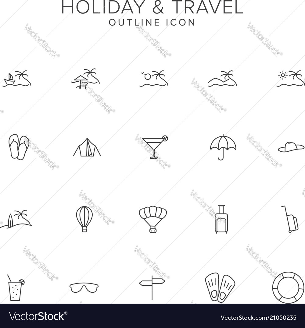 Holiday and travel line icon set