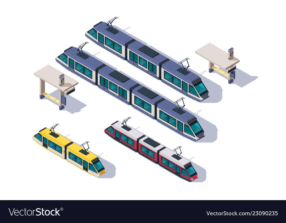 Isometric 3d set passenger tram with station