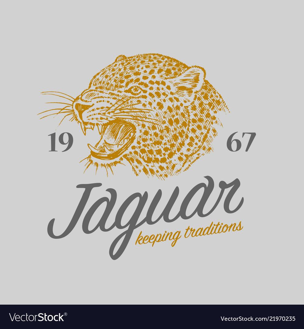 Japanese leopard logo asian cat grunge label