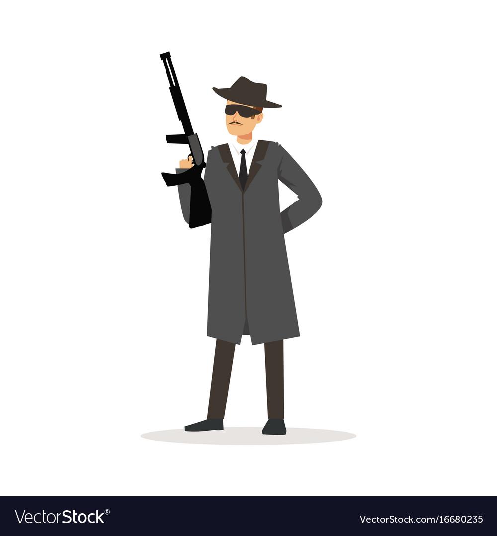 Mafia man character in gray coat and fedora hat