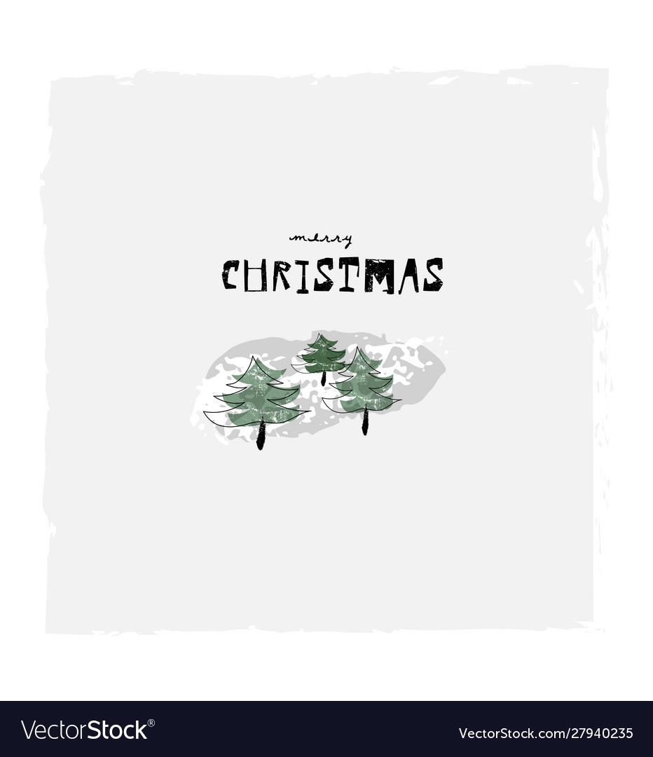 Merry christmas cute winter botanical greeting