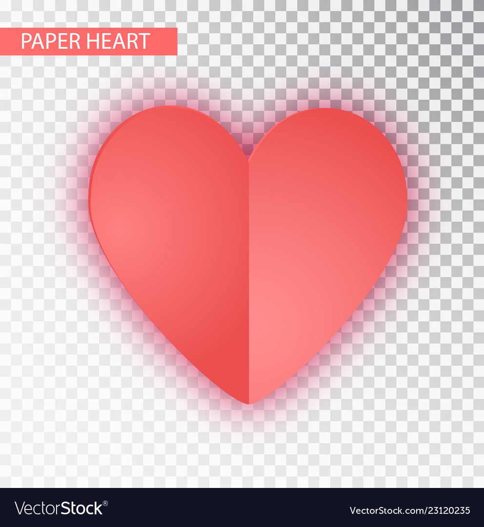 Paper heart isolated heart of valentine s