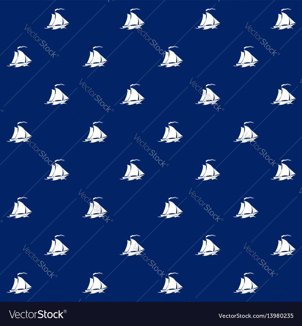 Sailboat on blue background seamless pattern