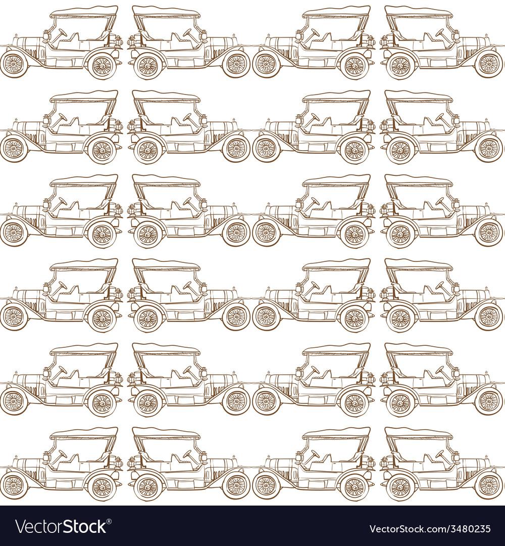 Seamless pattern of old vintage car