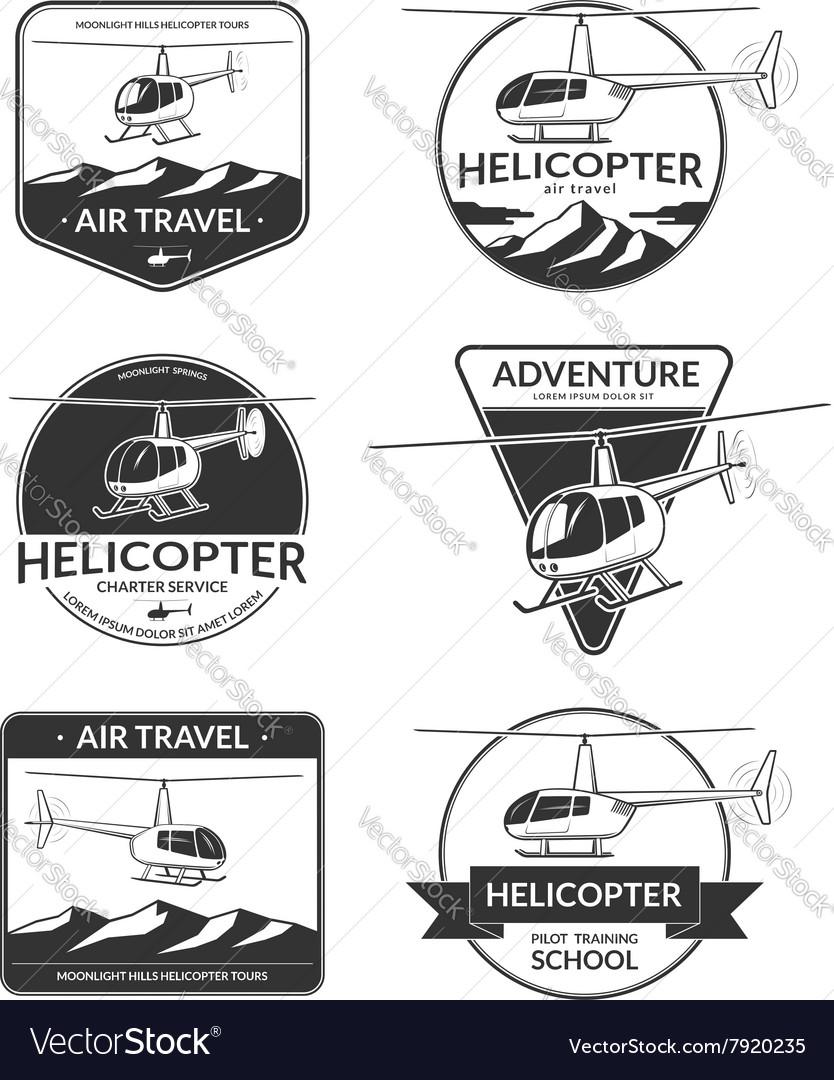 Set of helicopter logos labels design elements