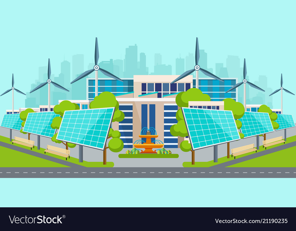 Solar panels with wind turbines in city